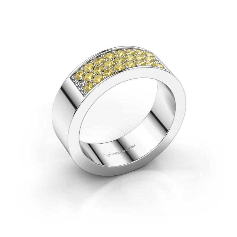 Ring Lindsey 5 950 platina gele saffier 1.7 mm