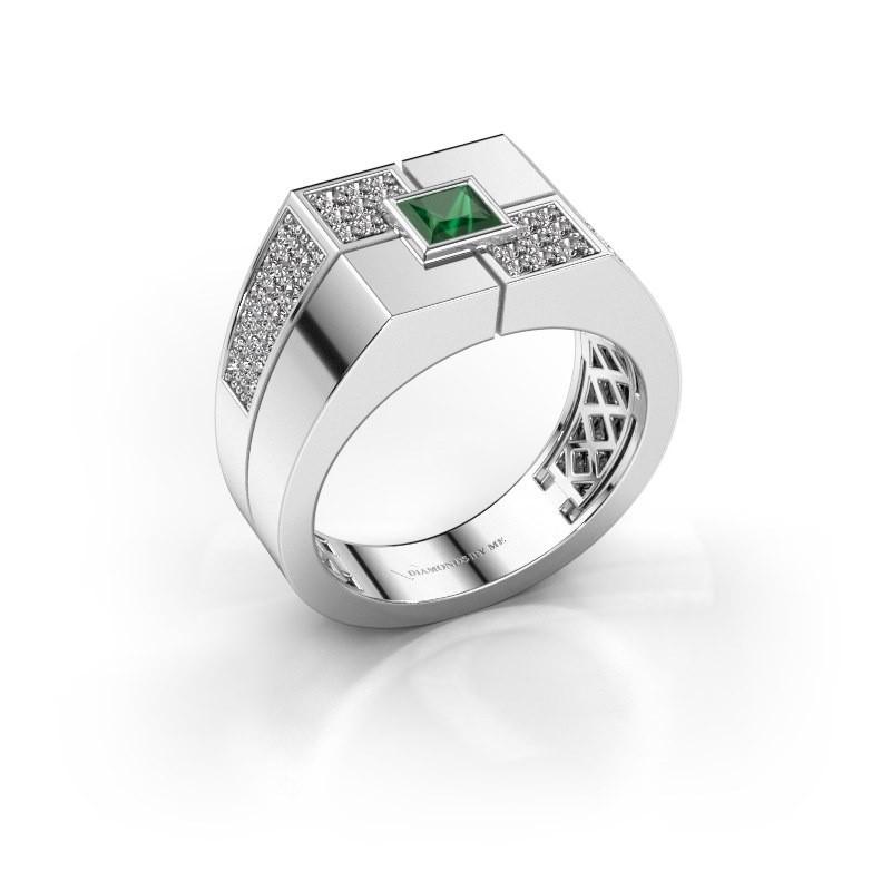 Men's ring Rogier 375 white gold emerald 4 mm