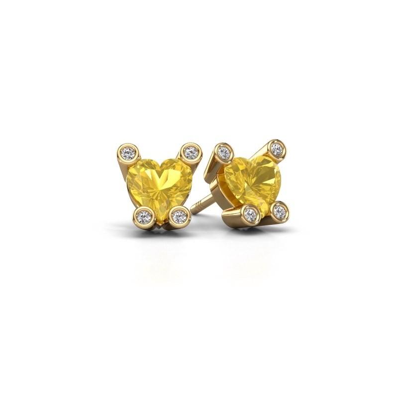Oorstekers Cornelia Heart 585 goud gele saffier 6 mm