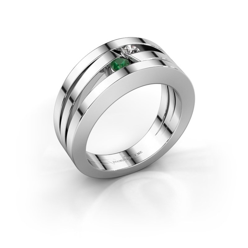 Ring Valerie 585 witgoud smaragd 2.7 mm