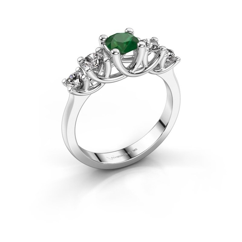 Engagement ring Jet 925 silver emerald 5 mm