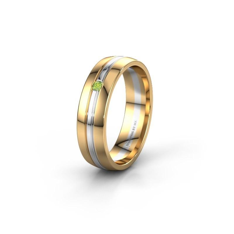 Wedding ring WH0420L25X 585 gold peridot ±0.20x0.06 in