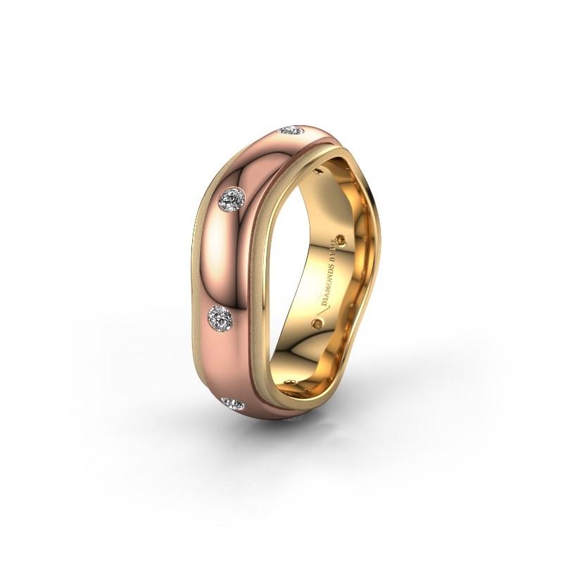 Trouwring WH2051L26DP 585 rosé goud diamant ±6x2.4 mm