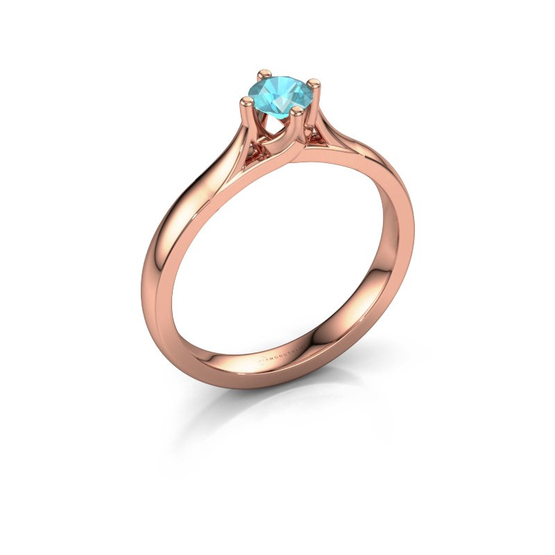 Verlovingsring Eva 585 rosé goud blauw topaas 4.2 mm
