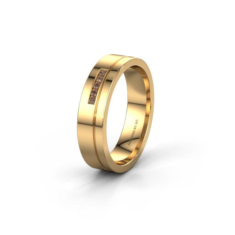 Trouwring WH0307L15AP 585 goud bruine diamant ±5x1.7 mm