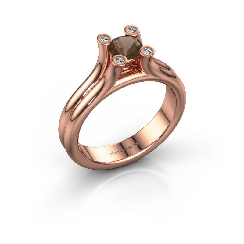 Belofte ring Stefanie 1 375 rosé goud rookkwarts 5 mm