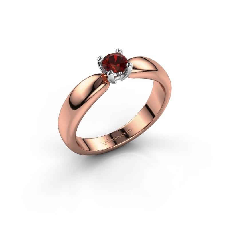Promise ring Katrijn 585 rosé goud granaat 4.2 mm