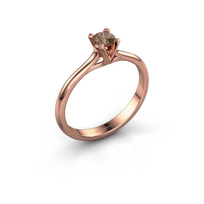 Verlovingsring Isa 1 585 rosé goud bruine diamant 0.25 crt