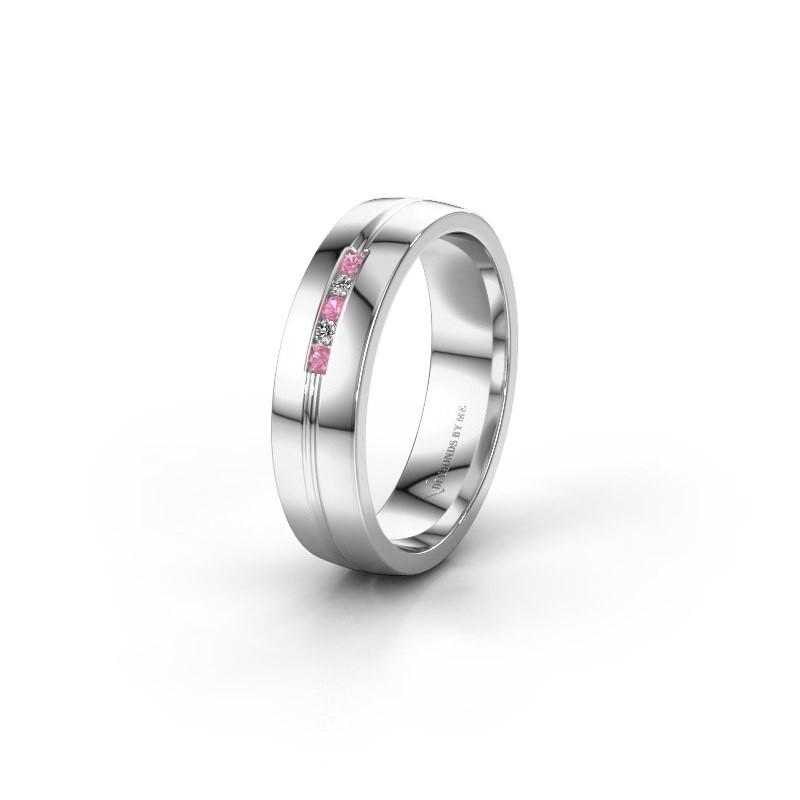 Trouwring WH0132L25B 950 platina roze saffier ±5x2 mm