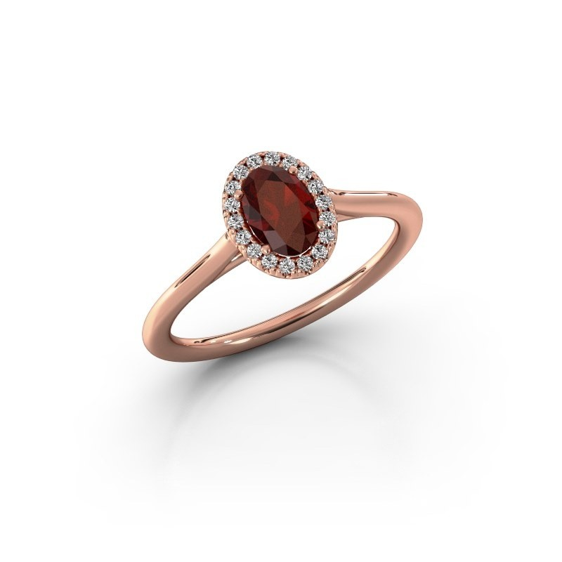 Engagement ring Seline 1 375 rose gold garnet 6x4 mm