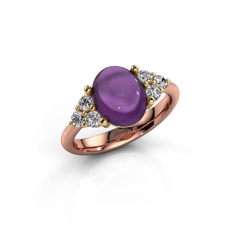 Ring Clarice 585 rosé goud amethist 10x8 mm