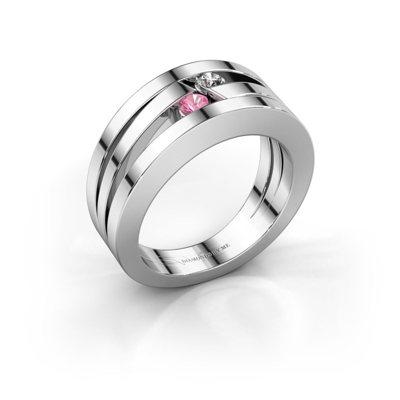 Ring Valerie 585 witgoud roze saffier 2.7 mm