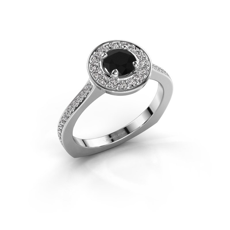 Ring Kanisha 2 925 zilver zwarte diamant 0.972 crt