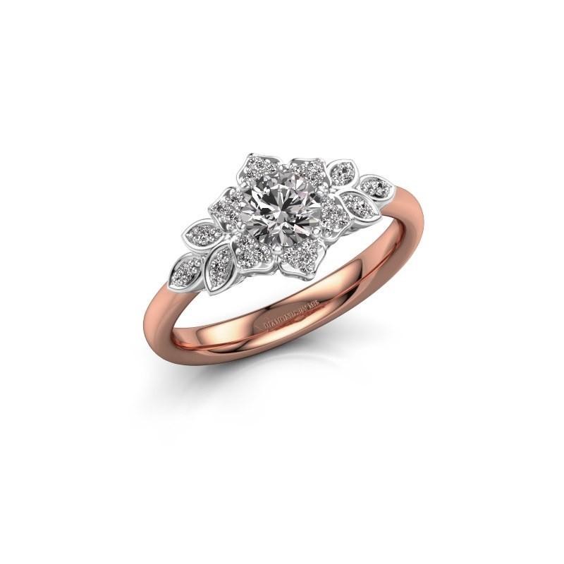 Verlovingsring Tatjana 585 rosé goud diamant 0.635 crt