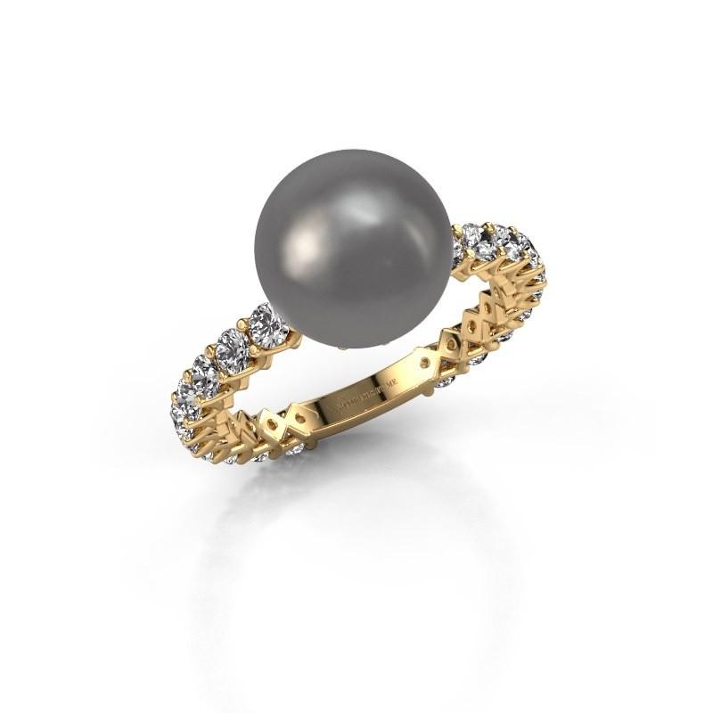 Ring Nele 375 goud grijze parel 9 mm
