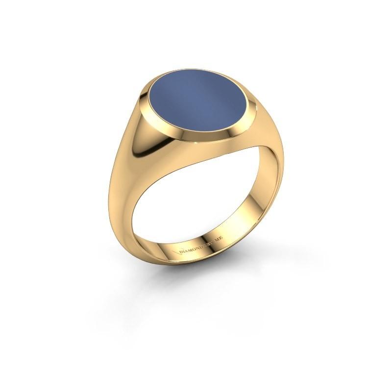 Zegelring Herman 3 375 goud blauw lagensteen 13x11 mm