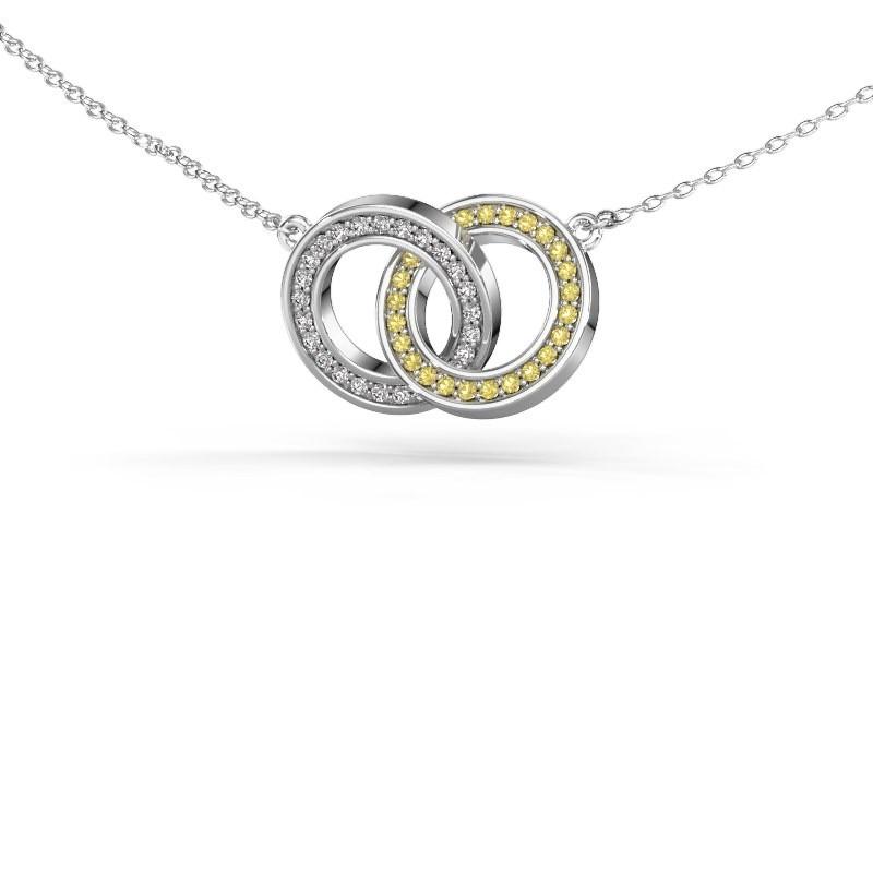 Halsketting Circles 2 925 zilver gele saffier 1 mm