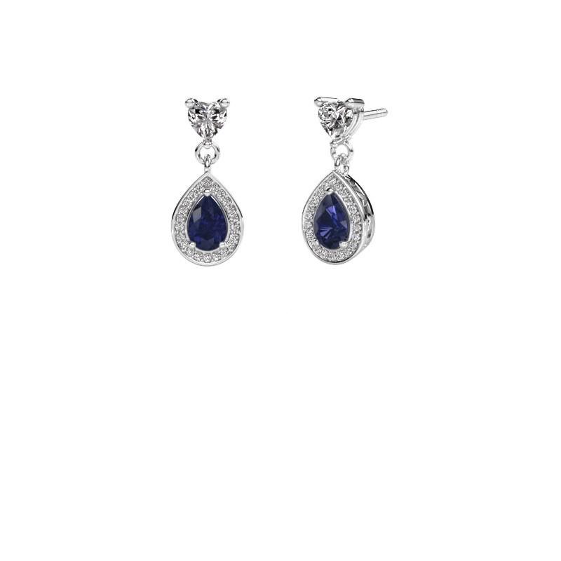 Drop earrings Susannah 950 platinum sapphire 6x4 mm