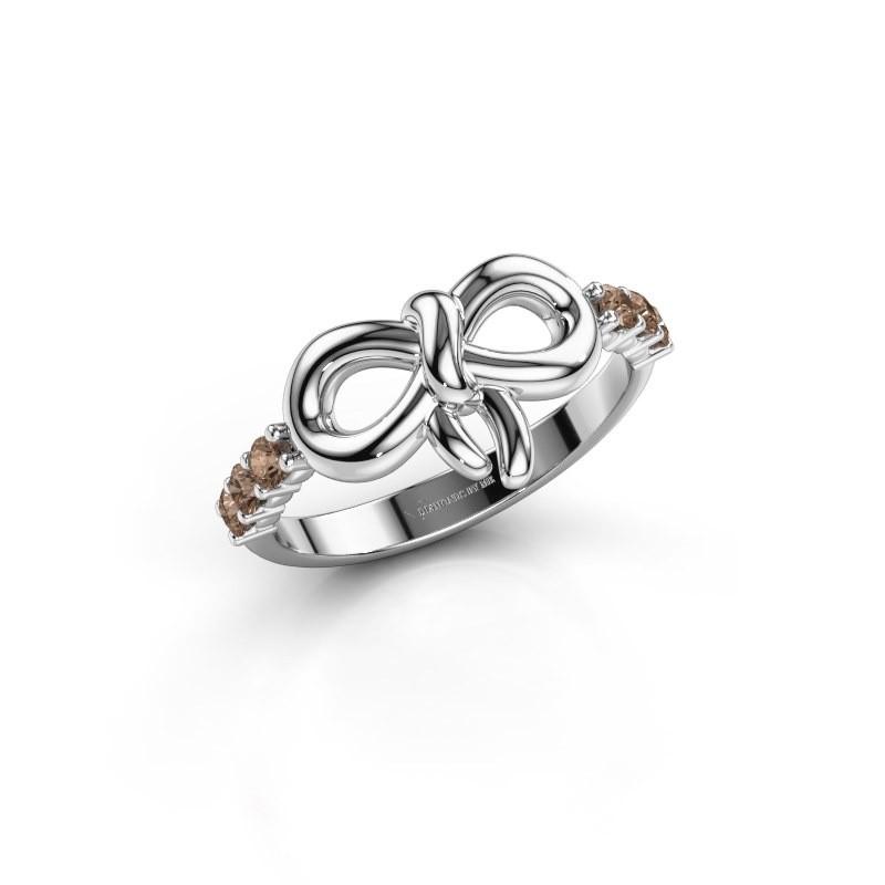 Ring Olympia 585 witgoud bruine diamant 0.27 crt