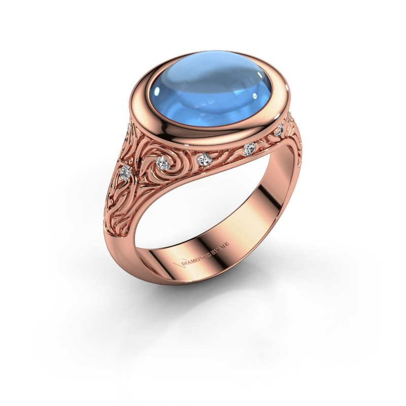 Ring Natacha 375 rosé goud blauw topaas 12x10 mm