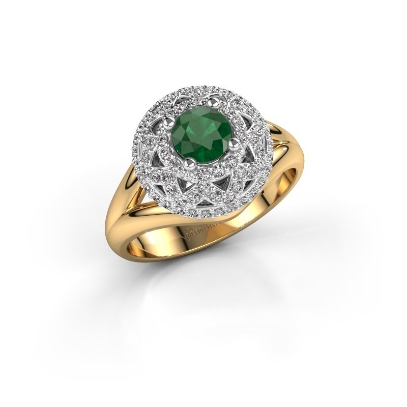Ring Leonora 585 goud smaragd 5 mm