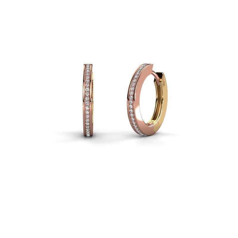 Creolen Renee 4 12 mm 585 rosé goud zirkonia 1 mm