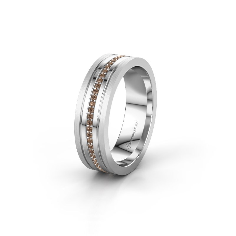 Trouwring WH0404L16A 585 witgoud bruine diamant ±6x1.7 mm