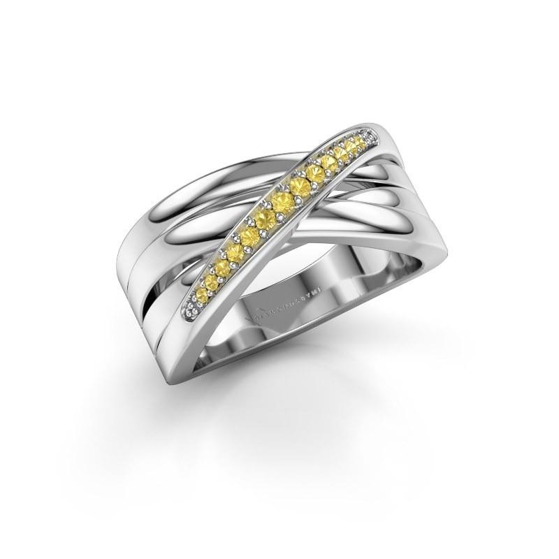 Ring Renna 2 950 platina gele saffier 1 mm