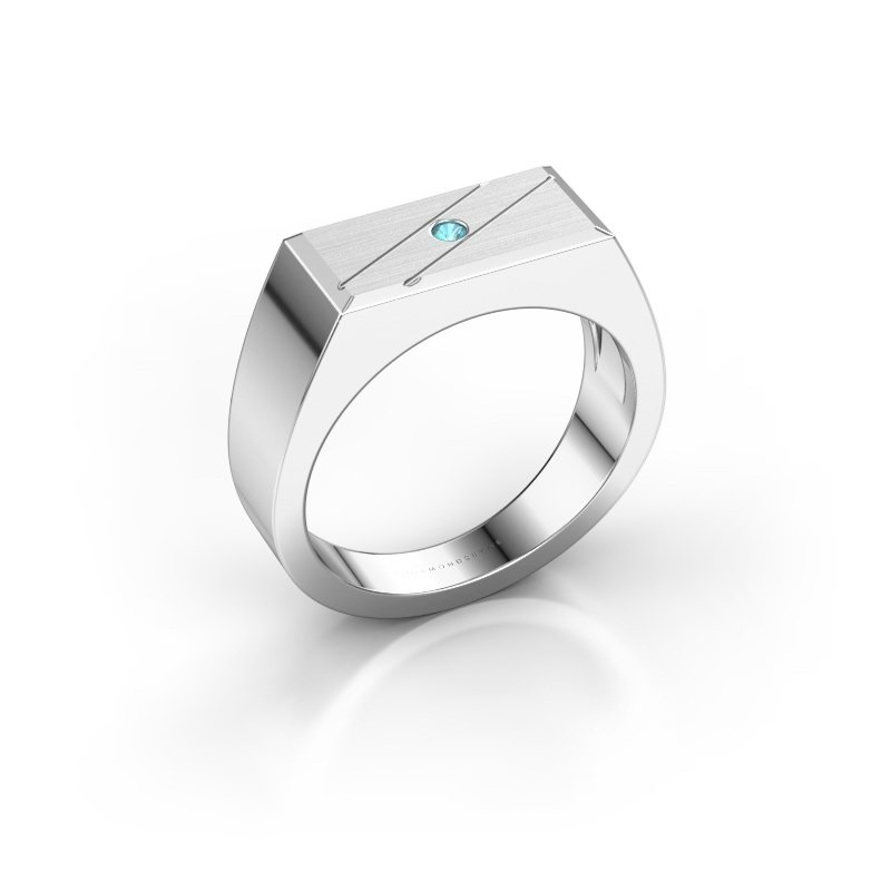 Men's ring Dree 3 950 platinum blue topaz 2 mm
