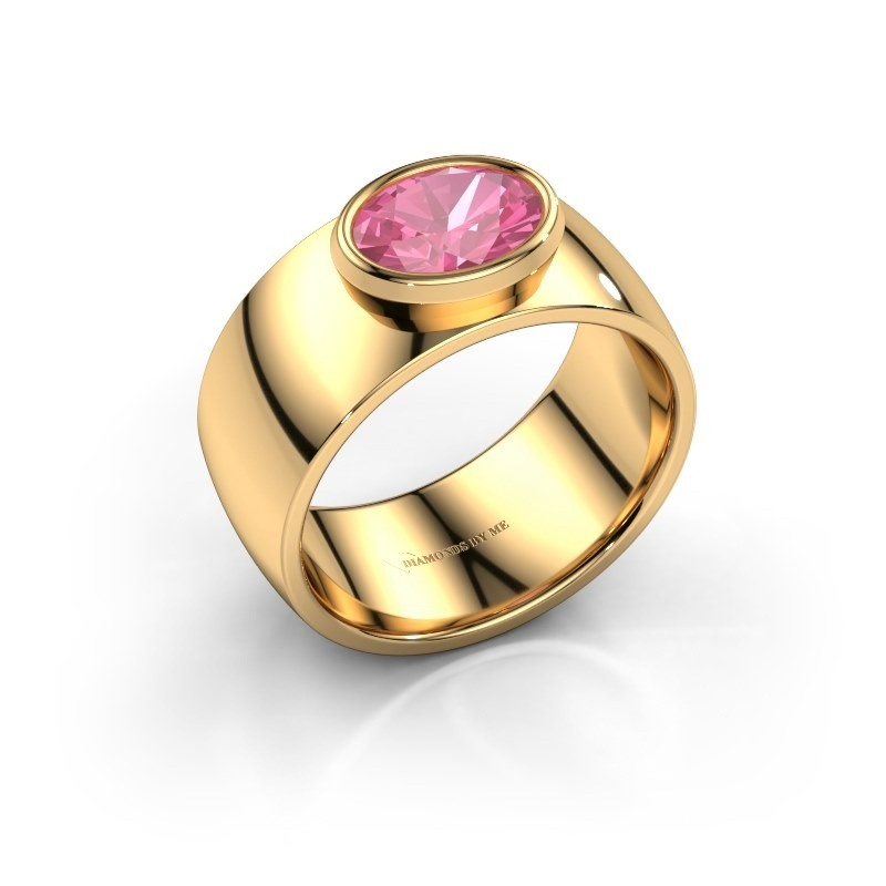 Ring Wilma 1 585 goud roze saffier 8x6 mm