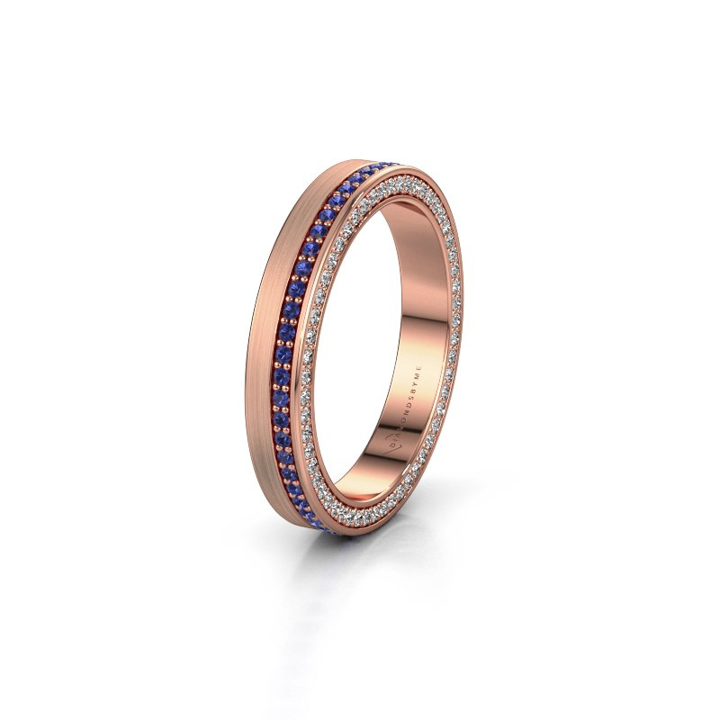 Wedding ring WH2214L15BM 375 rose gold sapphire 1 mm ±0.14x0.08 in