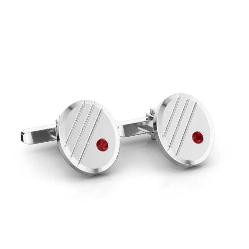 Cufflinks Wesley 585 white gold ruby 2.7 mm