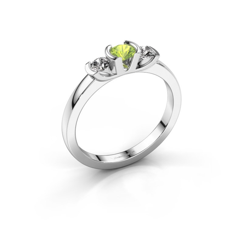 Ring Lucia 950 platinum peridot 3.7 mm