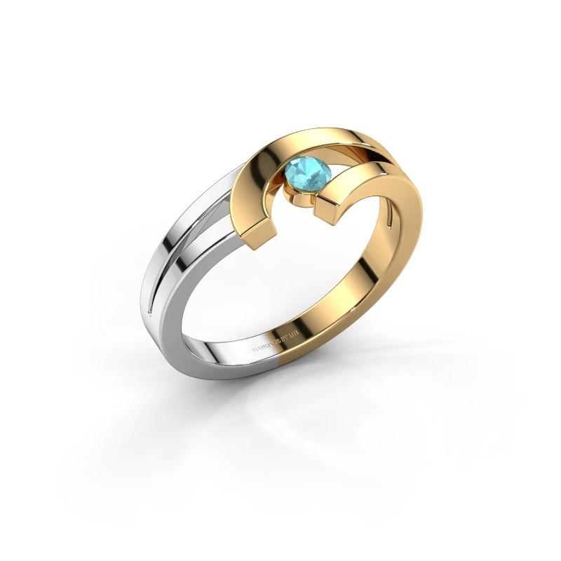 Ring Yentl 585 goud blauw topaas 3 mm