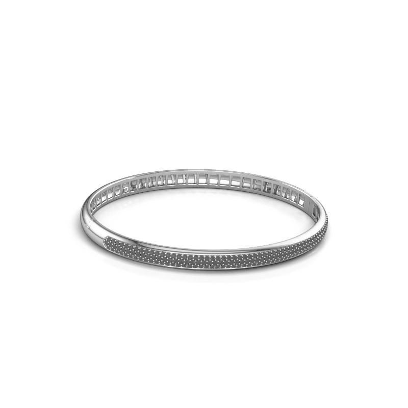 Armband Emely 5mm 585 witgoud zwarte diamant 1.409 crt