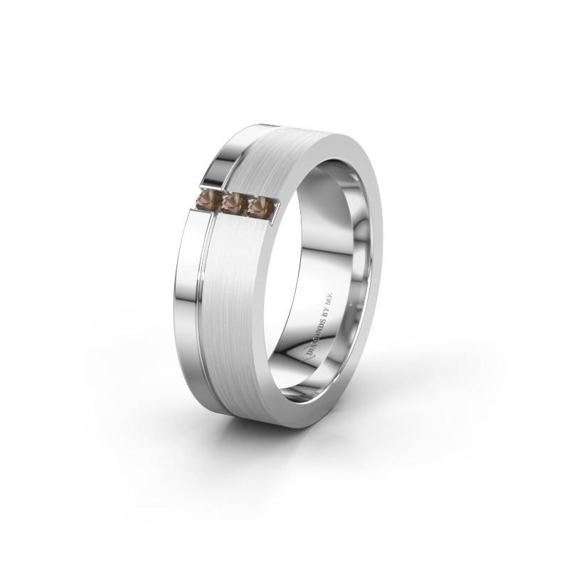 Wedding ring WH0327L16B 950 platinum smokey quartz ±0.24x0.08 in