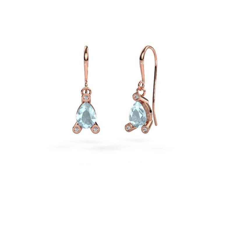 Drop earrings Bunny 1 375 rose gold aquamarine 7x5 mm