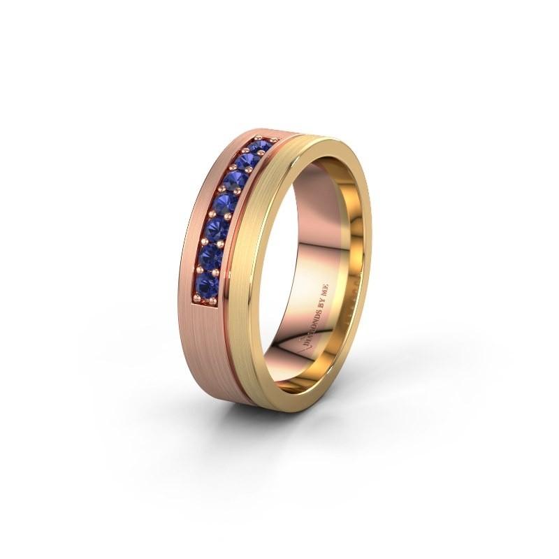 Trouwring WH0312L16AM 585 rosé goud saffier ±6x1.7 mm