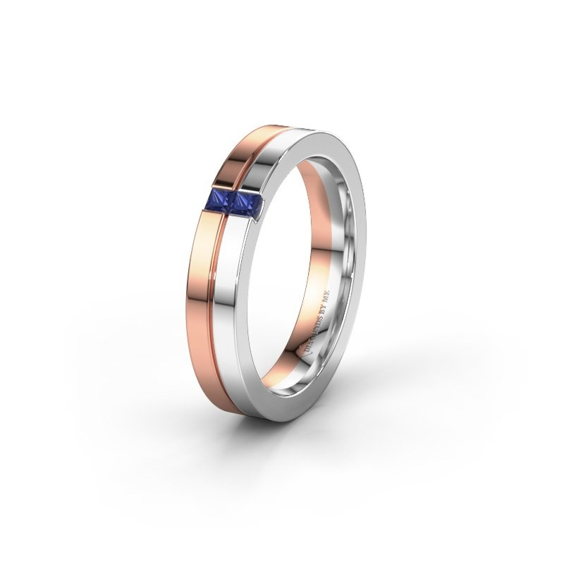 Wedding ring WH0225L14B 585 rose gold sapphire ±0.16x0.08 in