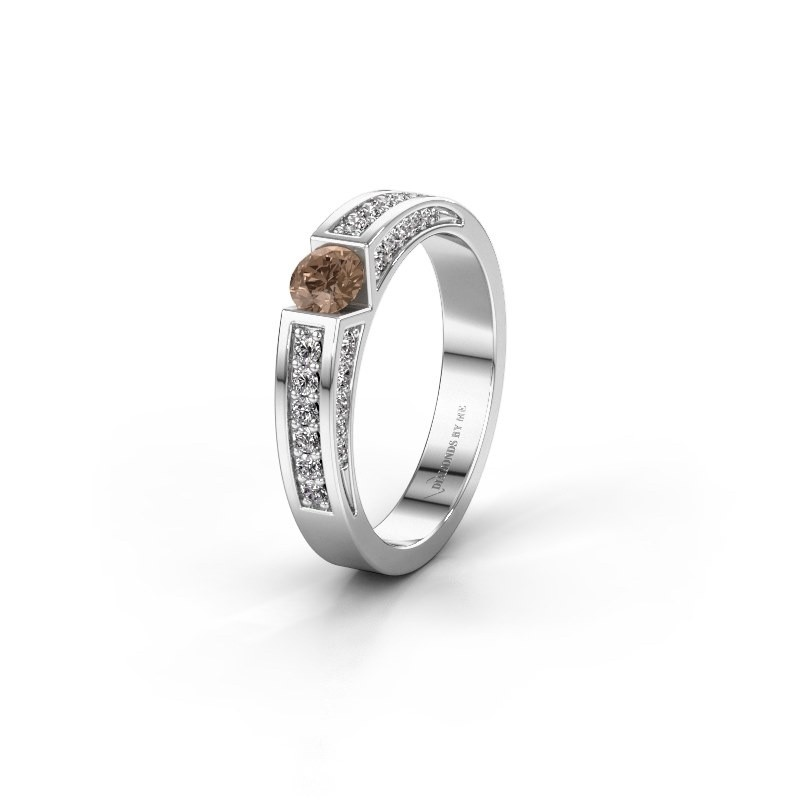 Trouwring WH2098L 585 witgoud bruine diamant ±4x3 mm