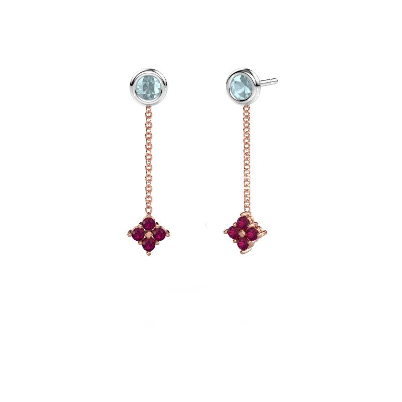 Drop earrings Ardith 585 rose gold rhodolite 2 mm