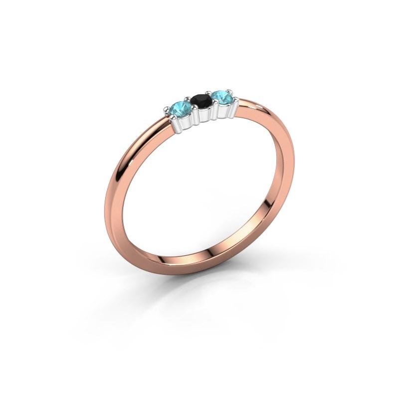 Verlobungsring Yasmin 3 585 Roségold Schwarz Diamant 0.036 crt