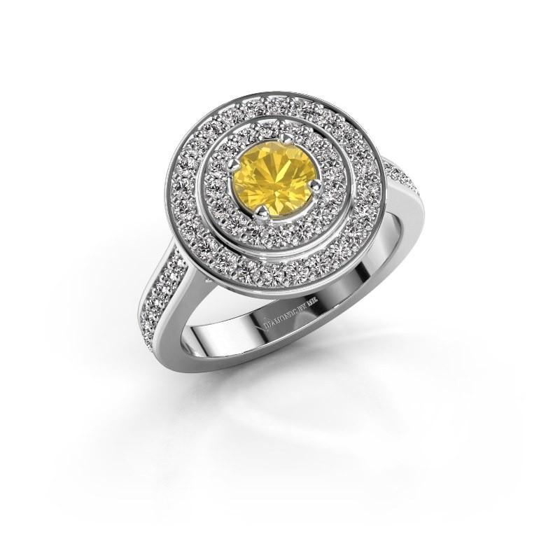 Ring Alecia 2 950 platina gele saffier 5 mm