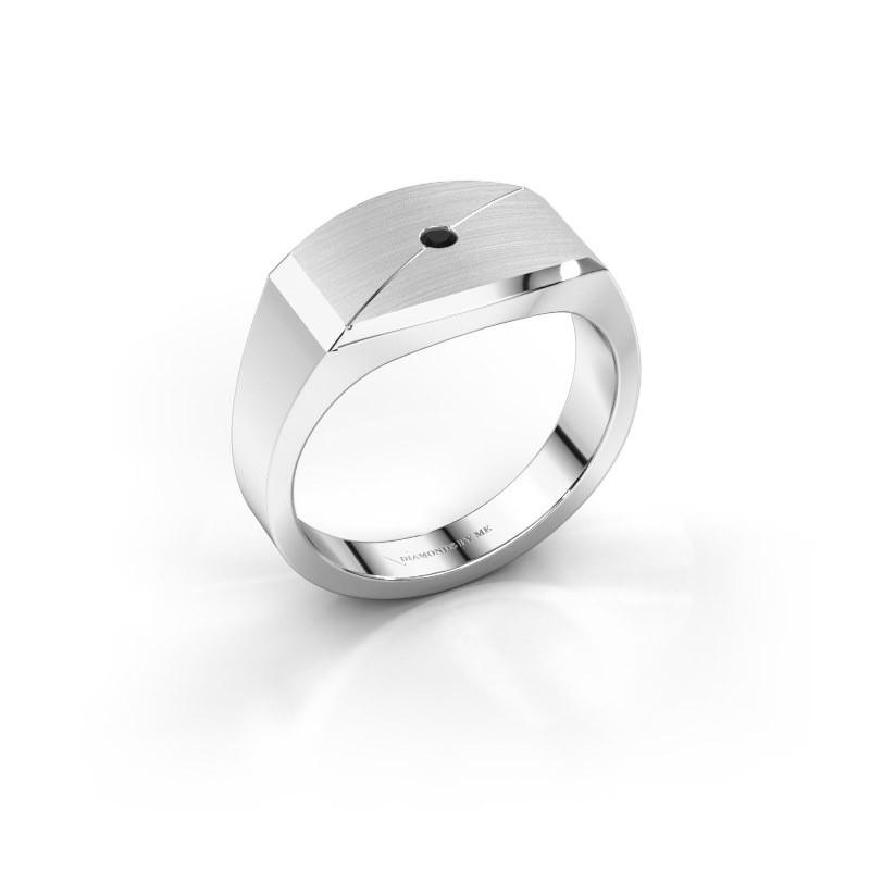 Heren ring Joe 5 925 zilver zwarte diamant 0.036 crt