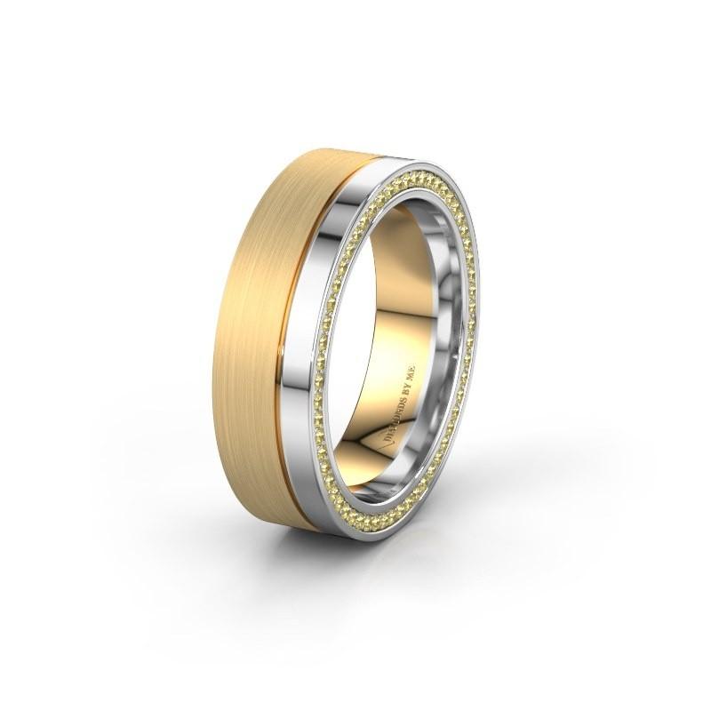Trouwring WH0313L16B 585 goud gele saffier ±6x2 mm