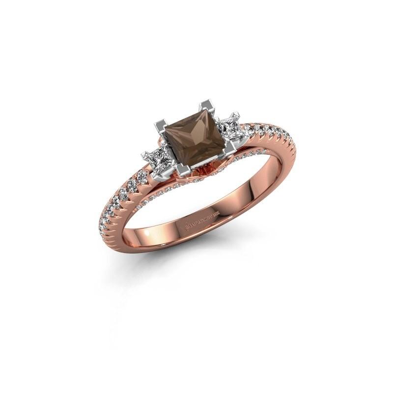 Verlovingsring Valentina 585 rosé goud rookkwarts 4.25 mm