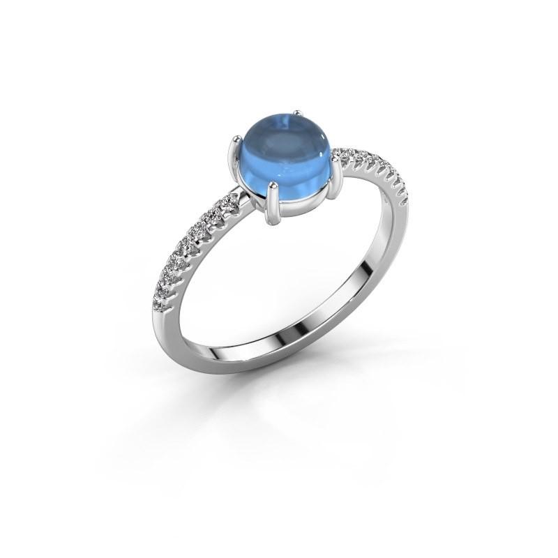Ring Cathie 585 witgoud blauw topaas 6 mm