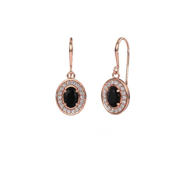 Drop earrings Layne 1 375 rose gold black diamond 1.92 crt