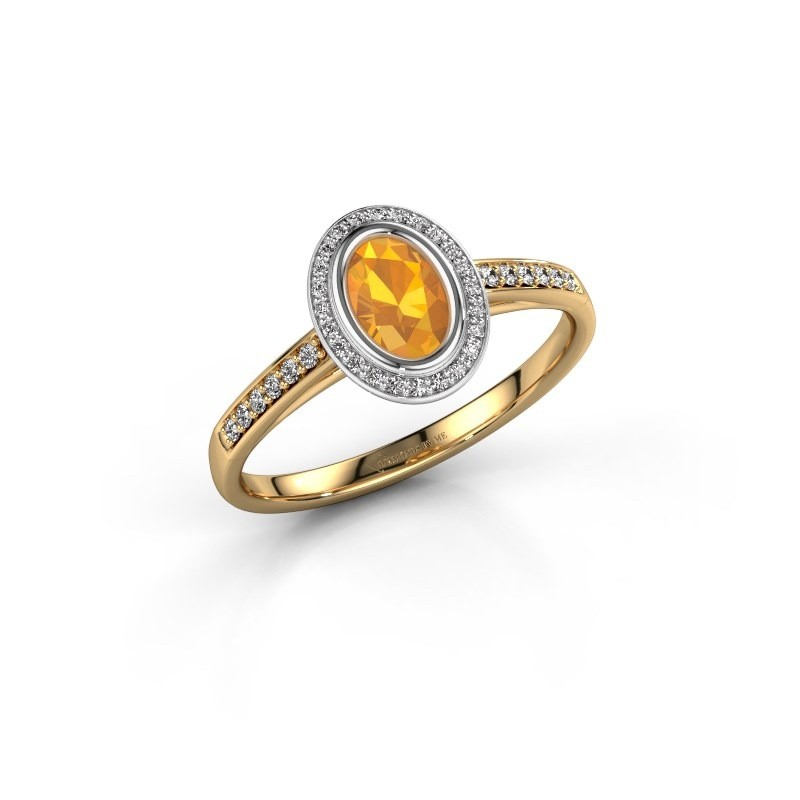 Engagement ring Noud 2 OVL 585 gold citrin 6x4 mm