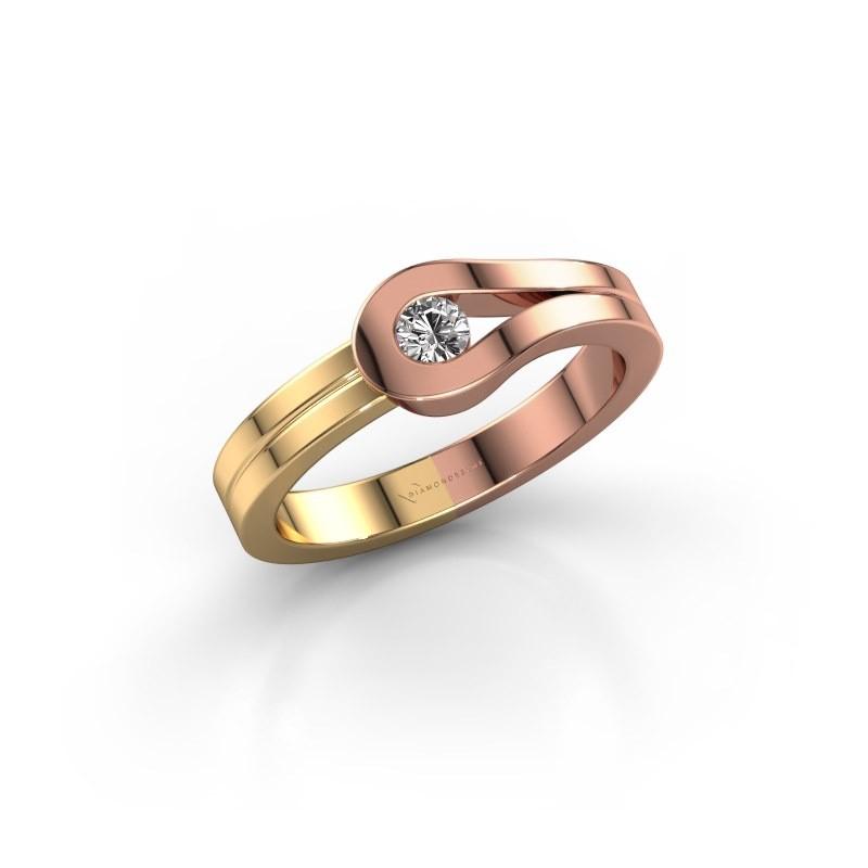 Bague Kiki 585 or rose diamant synthétique 0.10 crt